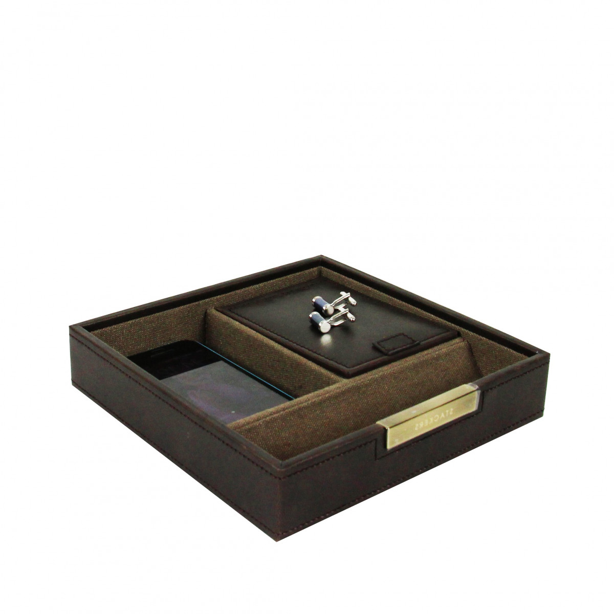 vide poche marron rangement petits accessoires. Black Bedroom Furniture Sets. Home Design Ideas
