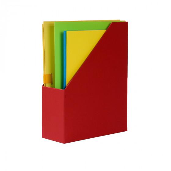 Range-dossiers en carton rouge
