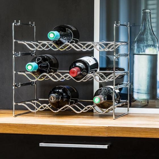 Range-bouteilles empilable pour 4 bouteilles