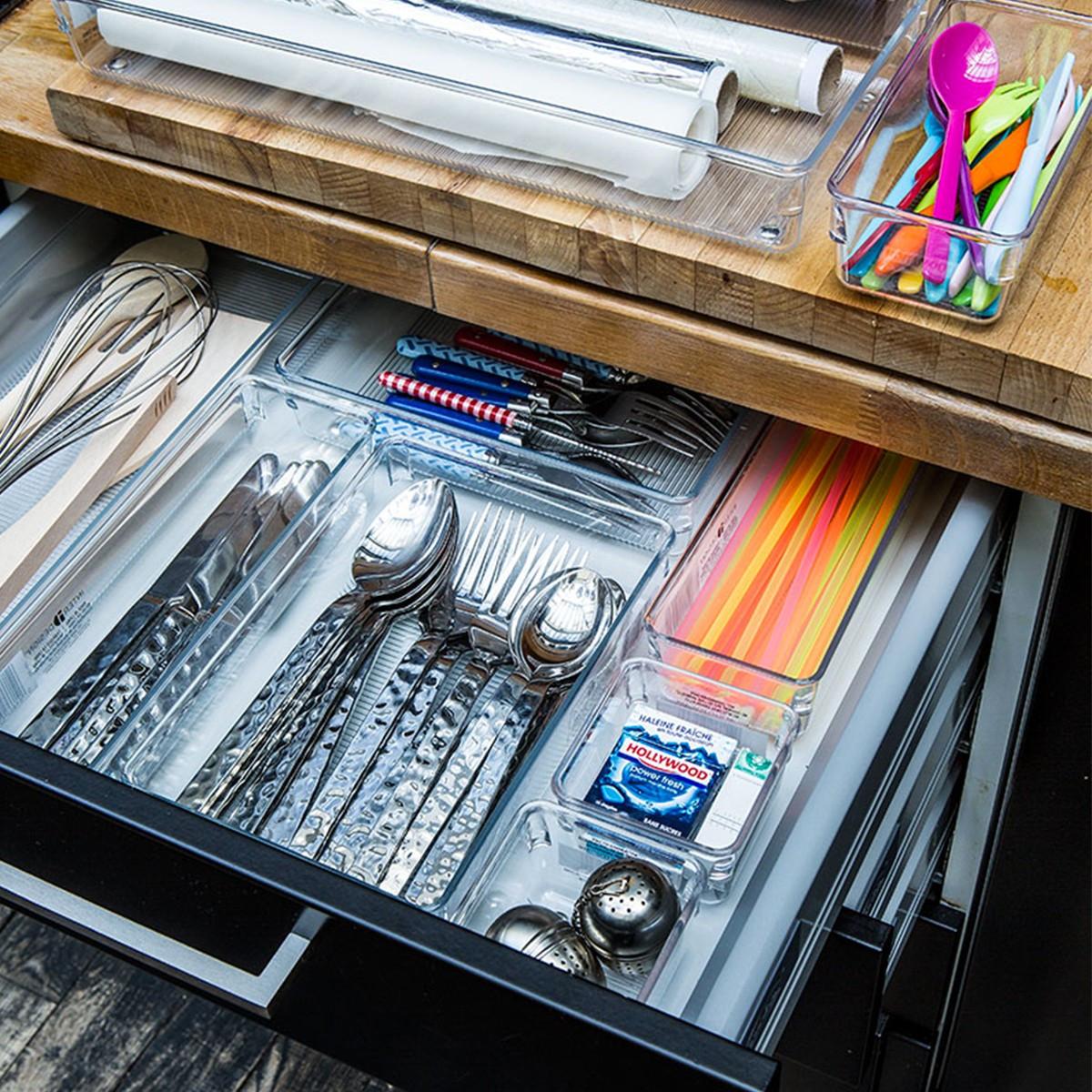 S parateur de tiroir couverts acrylique rangement cuisine for Organisateur de tiroir