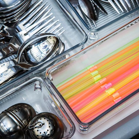 Organiseur de tiroir troit en acrylique salle de bain - Organiseur de tiroir cuisine ...