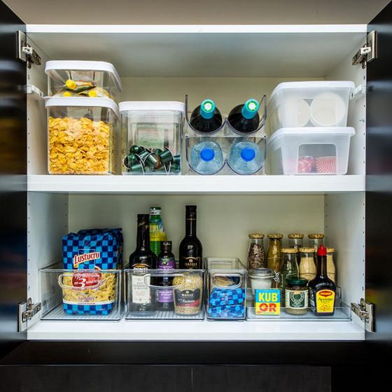 Haut bac en plastique S transparent et empilable pour organiser placards et tiroirs