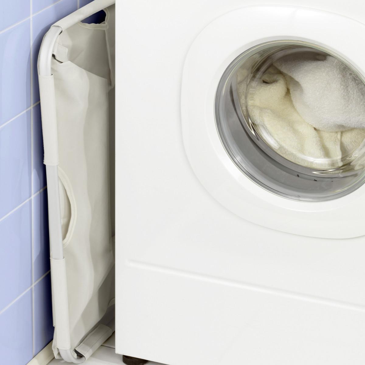 Panier pliable tissu beige rangement linge - Panier a linge rectangulaire ...
