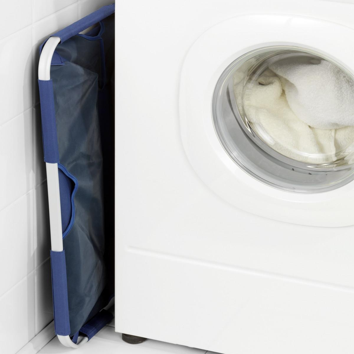 Panier pliable tissu bleu rangement linge - Panier a linge rectangulaire ...