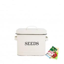 Boîte de rangement pour graines en métal crème