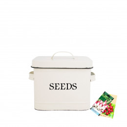 Bo te de rangement pour graines en m tal cr me - Poubelle a compost de cuisine ...