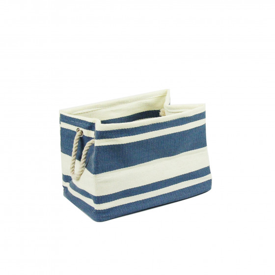 Sac rectangulaire en papier tressé rayé bleu et crème.