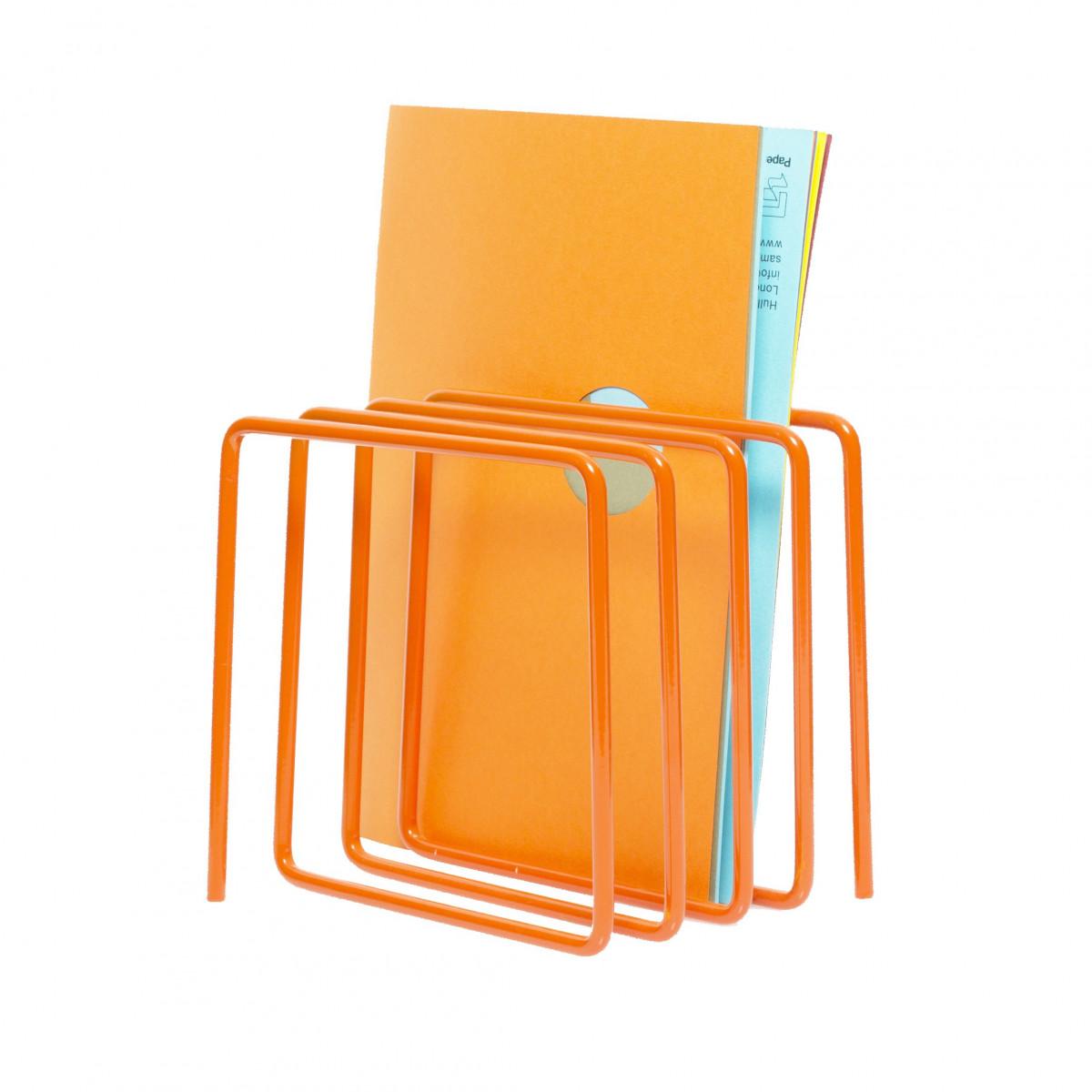 Range courrier porte revues design orange - Porte revues en bois ...