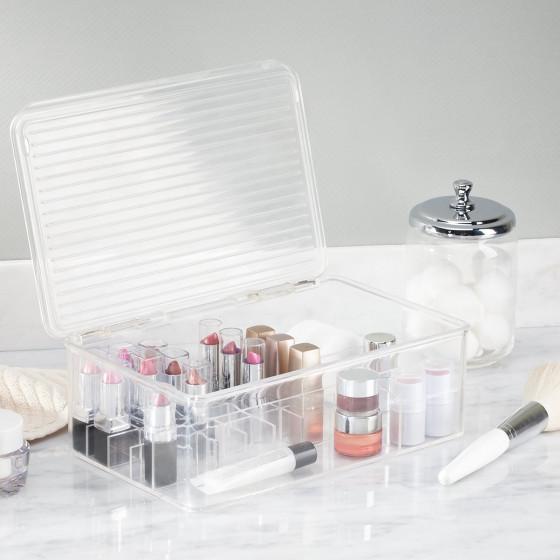 Bo te rangement maquillage compartiments et couvercle - Boite de rangement maquillage acrylique ...