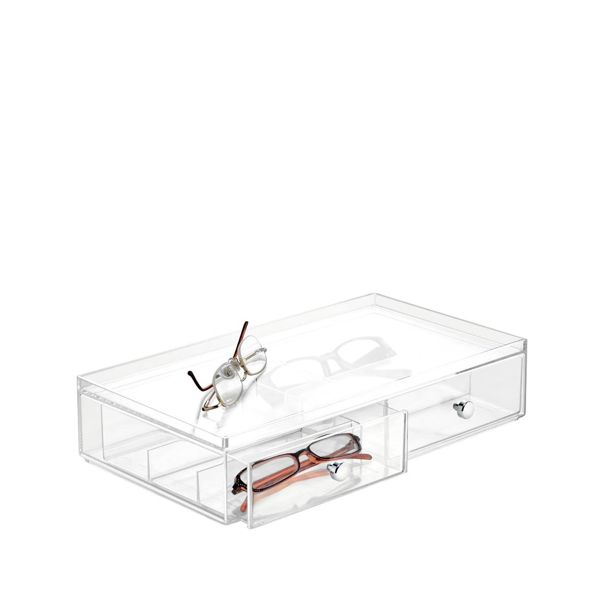 bo te acrylique tiroir compartiments rangement lunettes