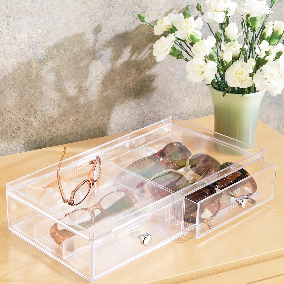 Bo te acrylique tiroir compartiments rangement lunettes - Boite de rangement maquillage ...