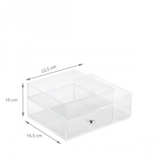 Boîte de rangement pour maquillage en acrylique transparent avec tiroir et compartiments