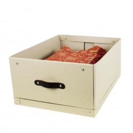 solide bo te de rangement en carton gris 2 poign es. Black Bedroom Furniture Sets. Home Design Ideas