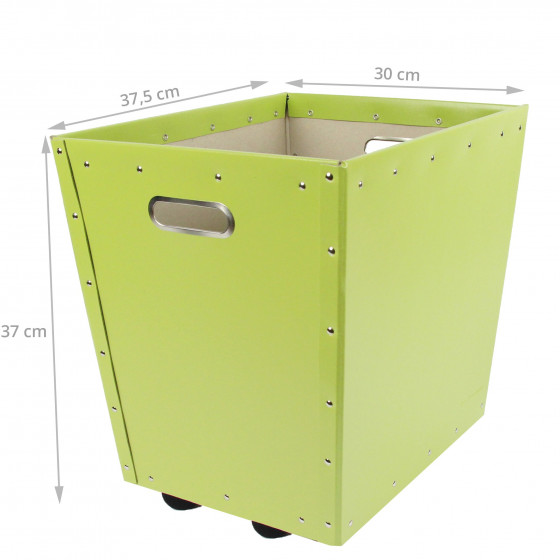 Bac de rangement à roulettes en carton vert