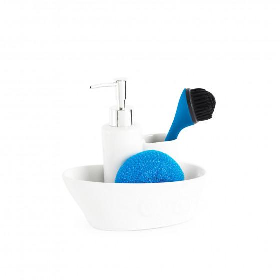 Distributeur de savon et porte éponges en céramique