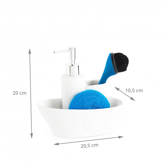 Distributeur savon porte ponges rangement vier for Rangement savon