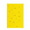 Panneau perforé jaune et 15 chevilles en bois
