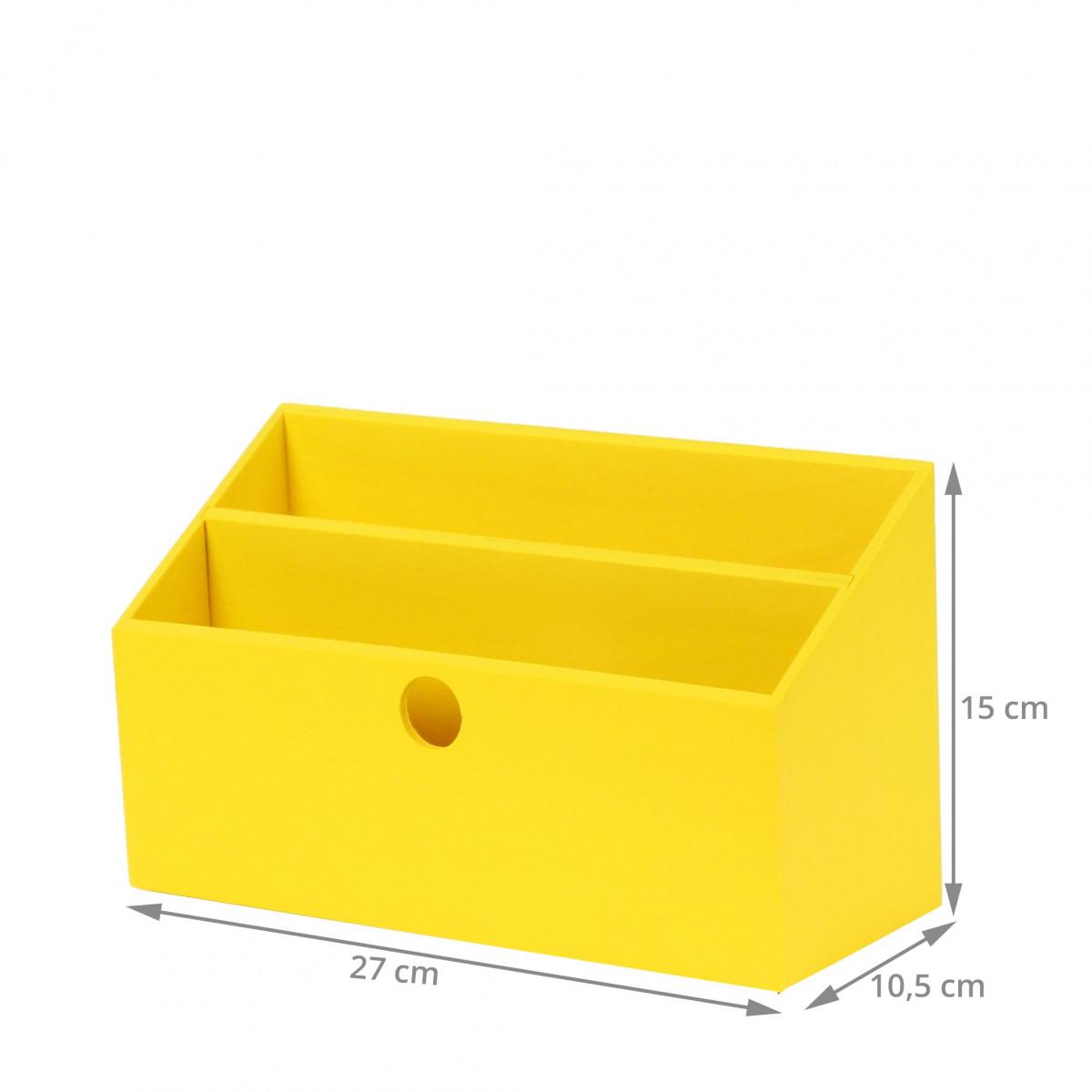 Porte lettres bois jaune rangement courrier for Porte jaune salon
