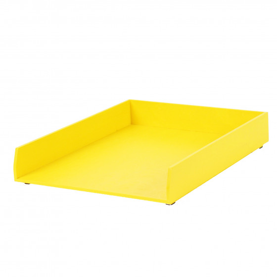 Bannette à courrier en bois jaune vif
