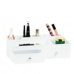 Boîte de rangement blanche pour maquillage avec tiroirs et compartiments