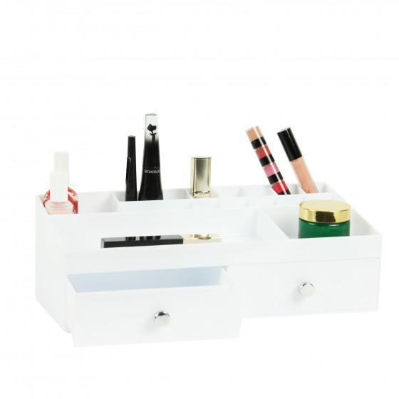 Bo te de rangement blanche pour maquillage avec tiroirs et - Boite de rangement pour maquillage ...