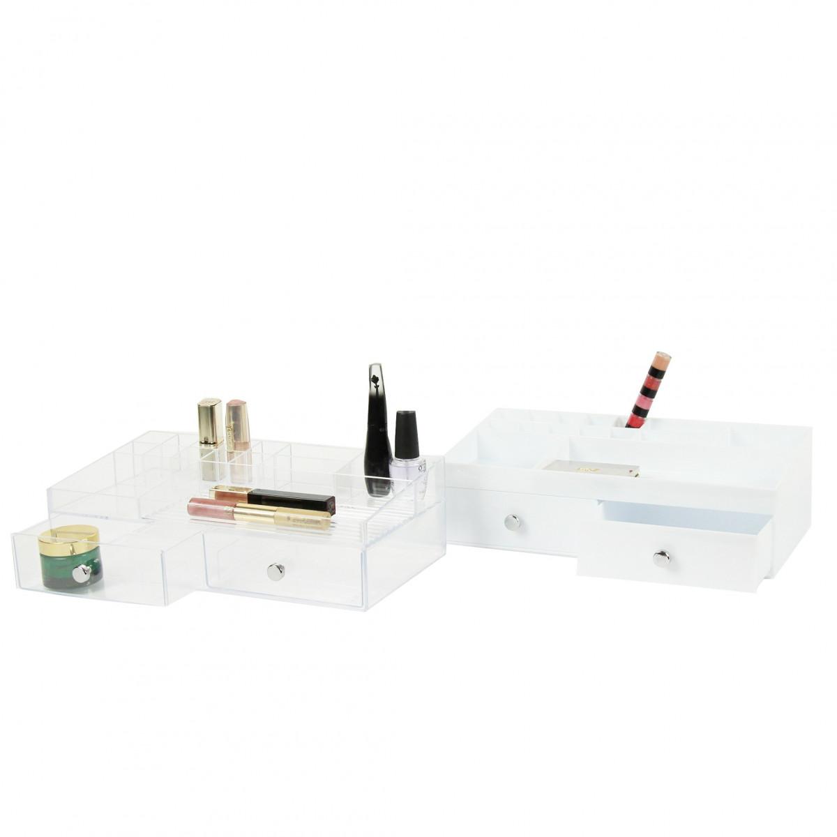 bo te de rangement blanche pour maquillage avec tiroirs et. Black Bedroom Furniture Sets. Home Design Ideas