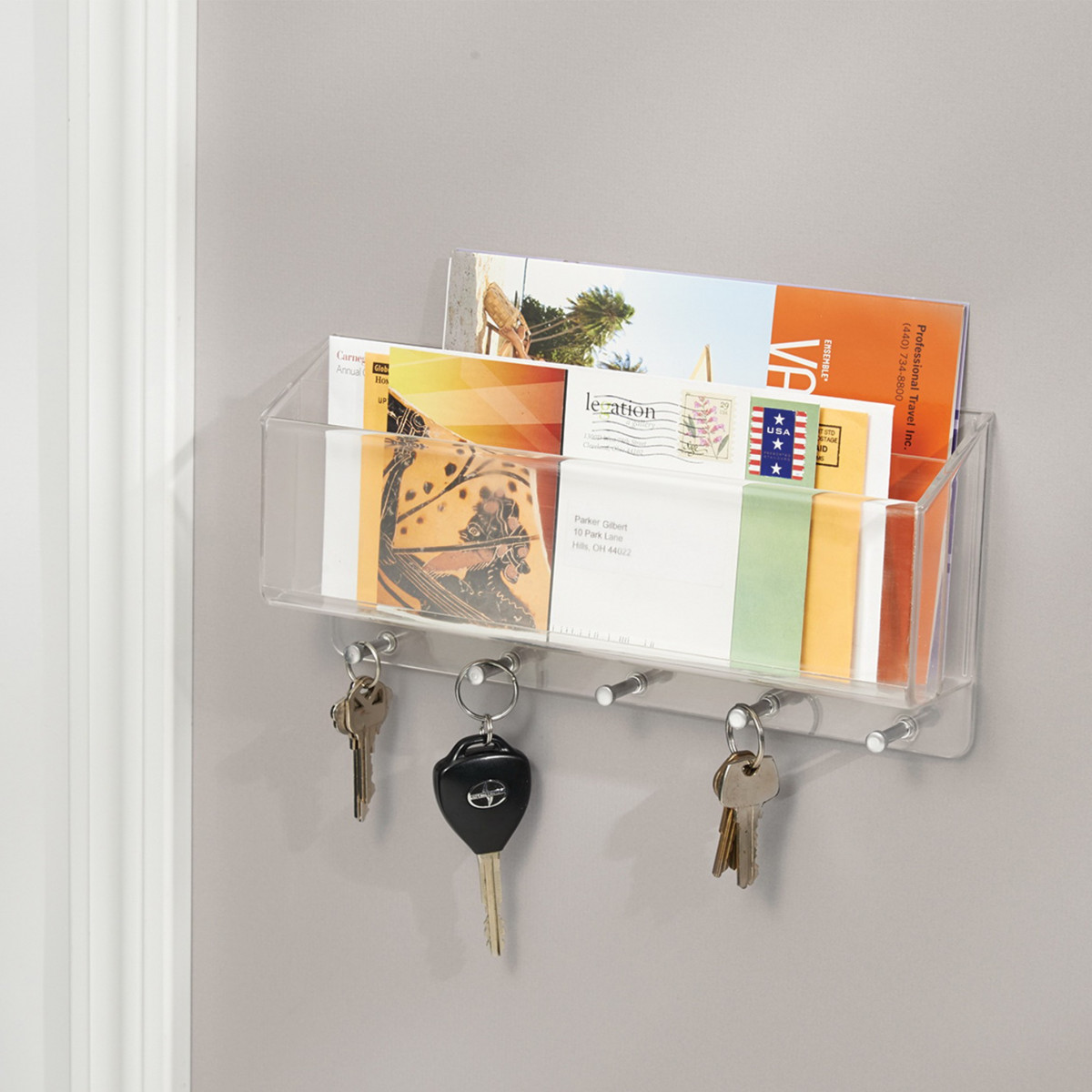 Porte courrier cl s mural rangement entr e for Porte courrier mural design