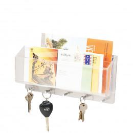 Porte courrier et clés mural en acrylique transparent
