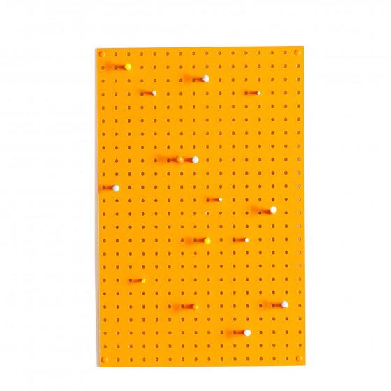 Panneau perfor bois peint orange rangement - Panneau perfore decoratif ...