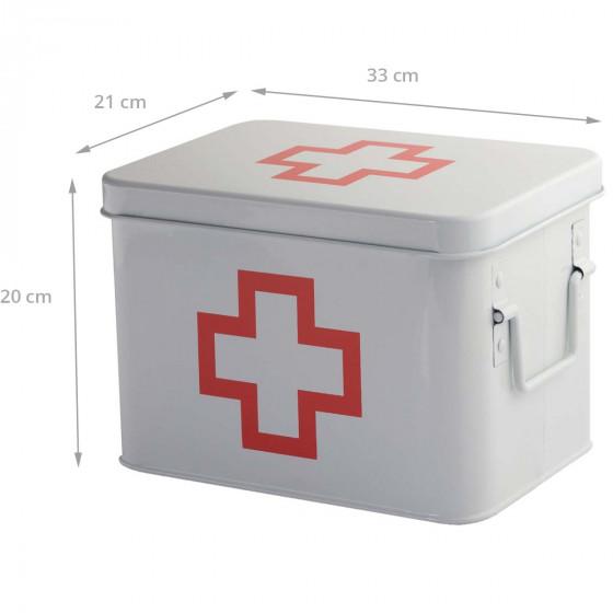 Grande boîte à pharmacie en métal à 5 compartiments