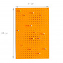 Panneau perforé orange avec 15 clous en bois taille M