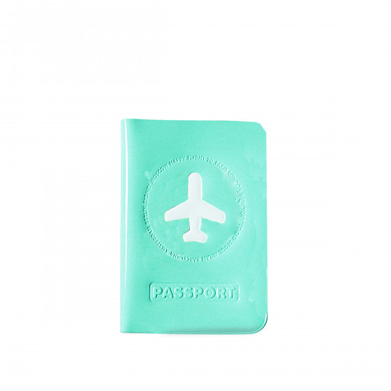 Protège passeport turquoise brillant