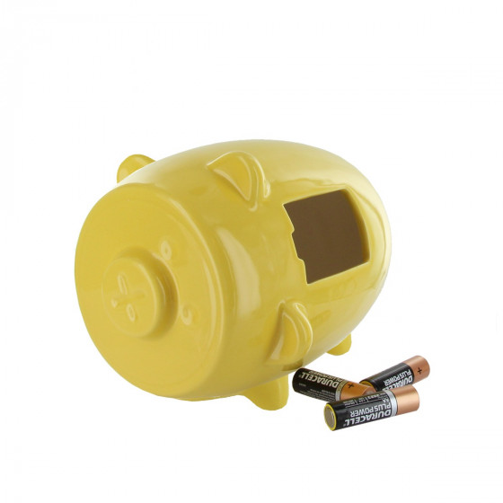 Boîte à piles à recycler en céramique jaune en forme de cochon