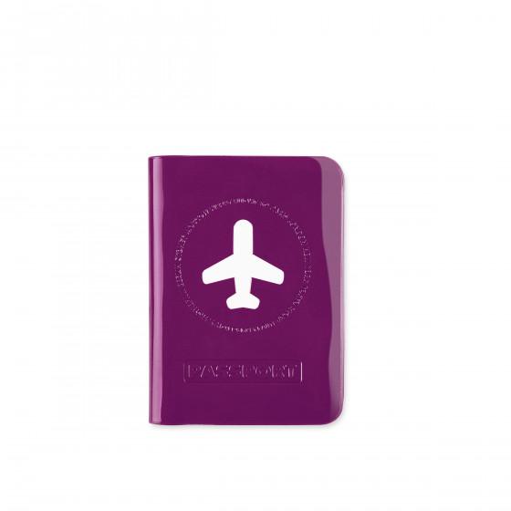 Protège passeport  violet brillant