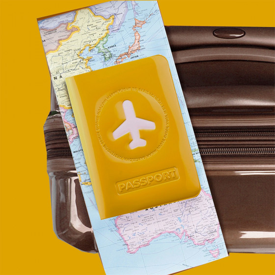 Protège passeport jaune moutarde brillant