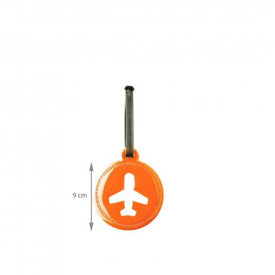 Etiquette de bagage ronde en plastique orange