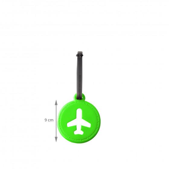 Etiquette de bagage ronde en plastique vert pomme