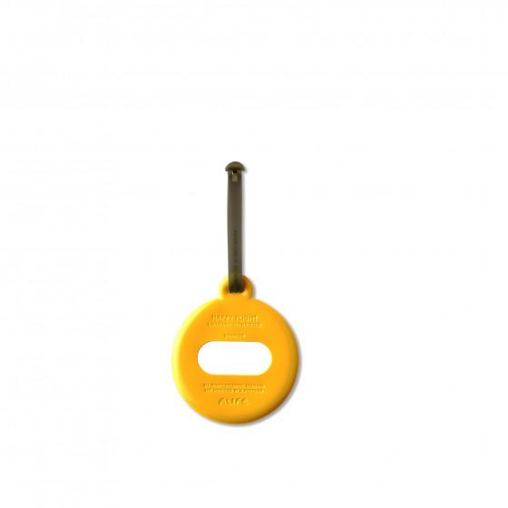 Etiquette de bagage ronde en plastique jaune moutarde