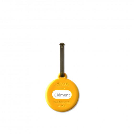 etiquette de bagage ronde jaune moutardedesign. Black Bedroom Furniture Sets. Home Design Ideas