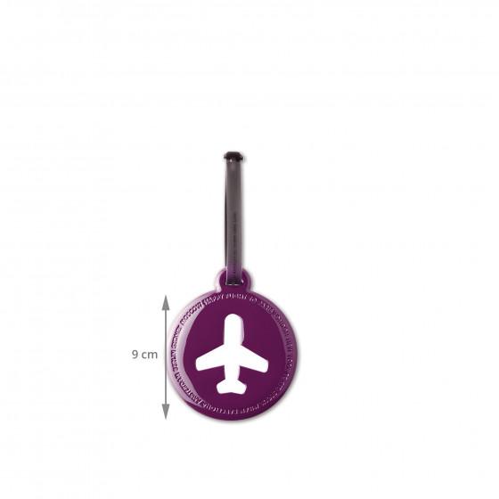 Etiquette de bagage ronde en plastique violet