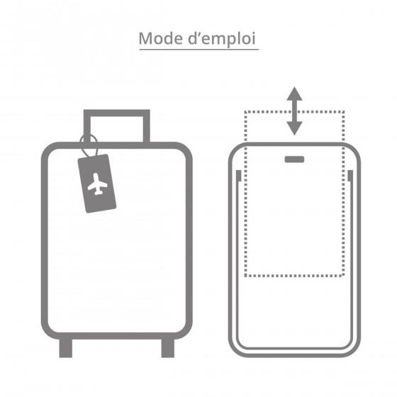 Etiquette de bagage rectangulaire en plastique gris