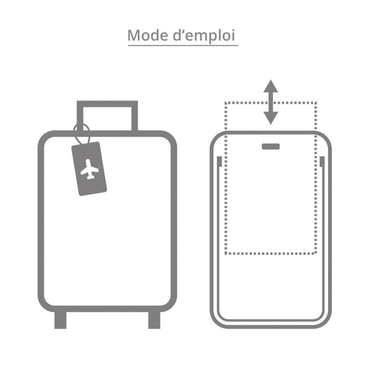 etiquette de bagage ronde plastique gris design. Black Bedroom Furniture Sets. Home Design Ideas