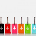 Etiquette de bagage rectangulaire en plastique vert pomme