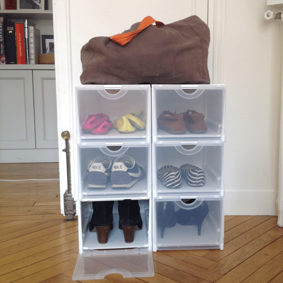 Bo te rangement chaussures blanche pliable - Boite de rangement pour dressing ...