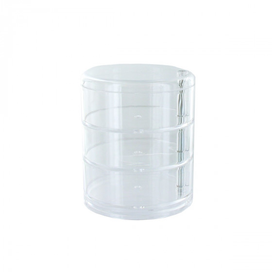 Boite de rangement cylindrique en acrylique avec 3 niveaux - Rangement maquillage en acrylique ...