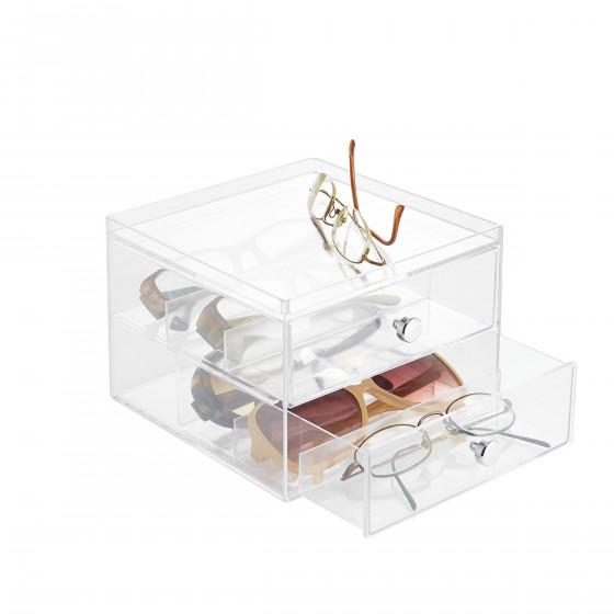 Boîte de rangement à 2 tiroirs pour lunettes