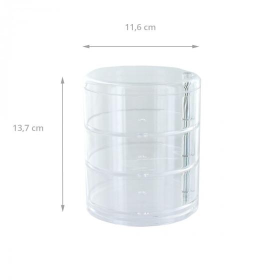 Boîte de rangement cylindrique en acrylique avec 3 niveaux