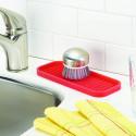 Porte savon d'évier en silicone rouge