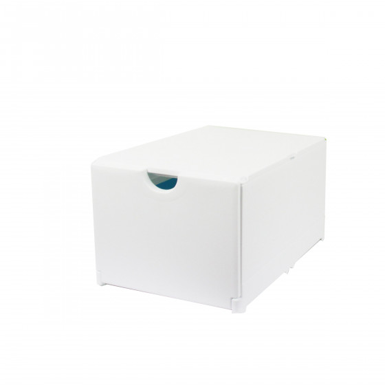 Boîte de rangement pour chaussures pliable et empilable blanche