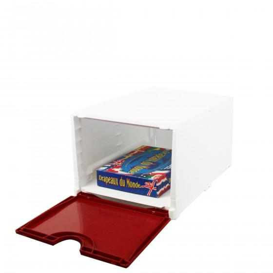 Boîte de rangement pour chaussures pliable et empilable blanche et rouge